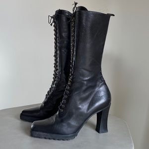 Lace Up Pegago Heeled Black Boot Size 7